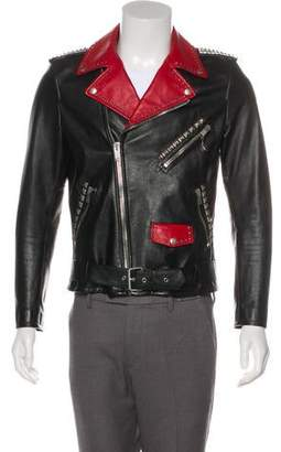 Saint Laurent Dégradé Leather Moto Jacket