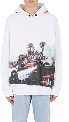 Palm Angels Men's Burning-Car-Print Cotton Hoodie