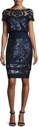 Tadashi Shoji Short-Sleeve Sequined Lace Blouse Dress $348 thestylecure.com