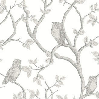 Brewster Home Fashions Essentials 33' x 20.5 Enchanted Forest Owl and Tree Wallpaper Roll