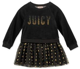 Juicy Couture Velour Sweatshirt Top & Layered Tulle Bottom Dress (Toddler Girls)