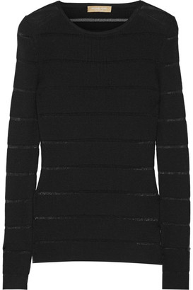 Michael Kors Collection - Sheer-striped Ribbed Merino Wool-blend Sweater - Black $595 thestylecure.com