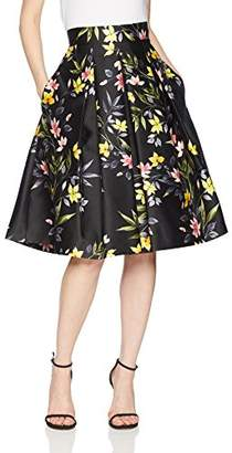 Eliza J Women's Floral Print A-Line Pleated Skirt
