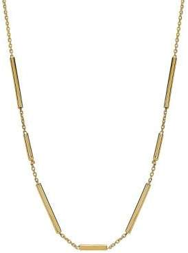 Lord & Taylor 14K Yellow Gold Square Tube on Chain Necklace