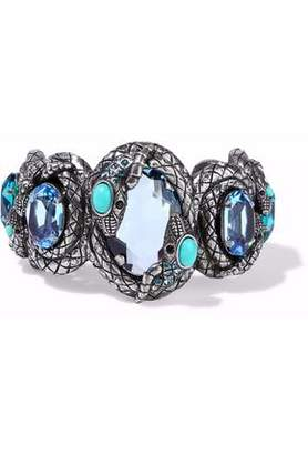 Lanvin Silver-Tone Crystal And Resin Cuff