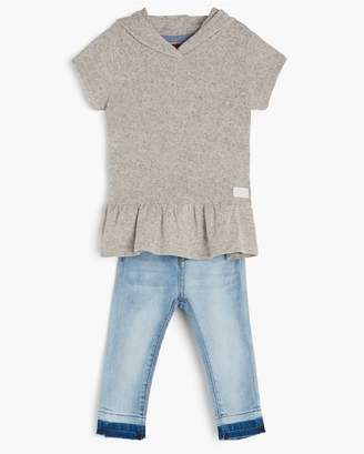 7 For All Mankind Kids Girls 2T-4T Ruffled Hoodie Skinny In Heather Grey