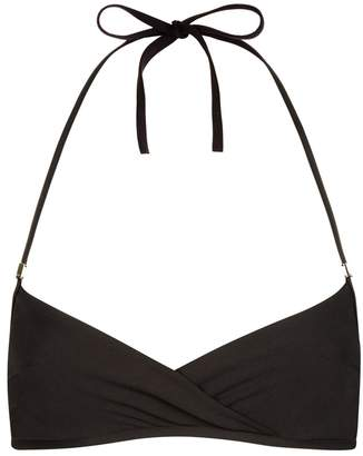 La Perla Aquamarine Black Underwired Bandeau Halter-Neck Bikini Top