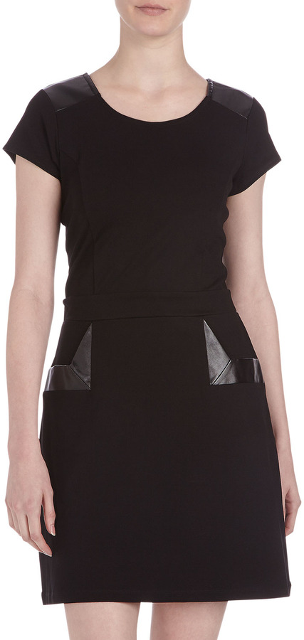 Neiman Marcus Faux-Leather and Ponte Dress, Onyx