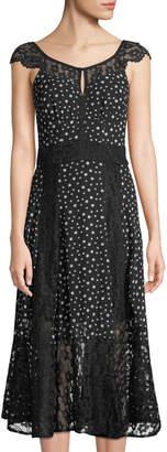 Nanette Lepore Nanette Cap-Sleeve Dotted Chiffon Midi Dress w/ Lace Inserts
