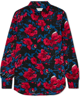 Saint Laurent Floral-print Silk-jacquard Shirt - Black