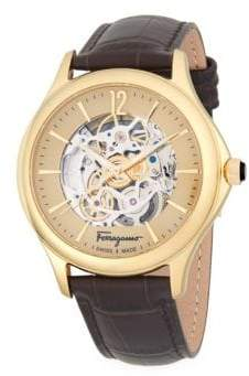 Salvatore Ferragamo Round Stainless Steel Automatic Embossed Leather-Strap Watch