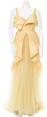 J. Mendel Sleeveless Tier-Accented Gown