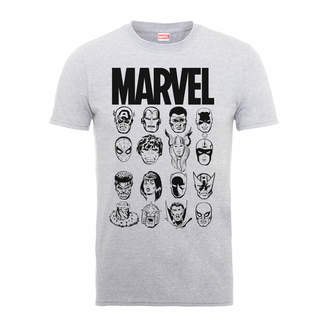 Marvel Multi Heads Men's Grey T-Shirt