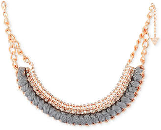 "GUESS Rose Gold-Tone Crystal & Thread Collar Necklace, 15"" + 2"" extender"