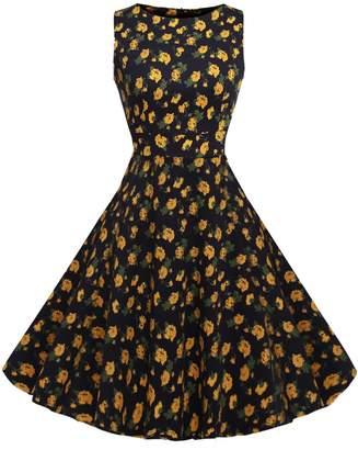 ACEVOG Women's Marla' Jackie O 1950's 1960's Sleeveless Dress