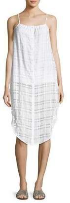 Onia Flora Button-Front Plaid Gauze Coverup Dress