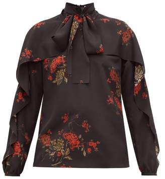 RED Valentino Ruffled Floral Print Pussy Bow Crepe Blouse - Womens - Black Multi