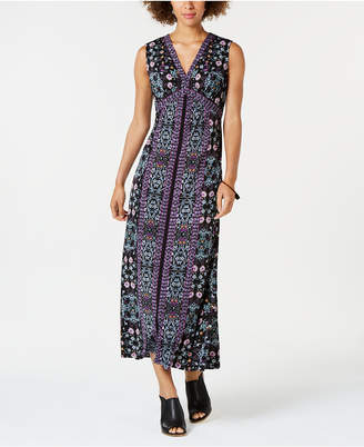 Style&Co. Style & Co Printed V-Neck Maxi Dress, Created for Macy's