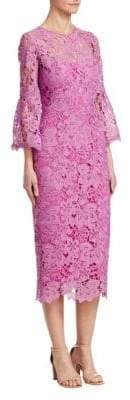 Lela Rose Flounce-Sleeve Lace Sheath Dress