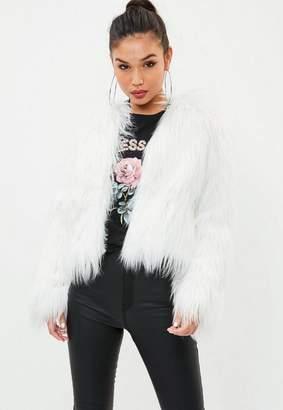 Missguided White Shaggy Faux Fur Coat