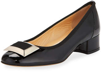 Sesto Meucci Derna Low-Heel Buckle Patent Pumps, Blacks