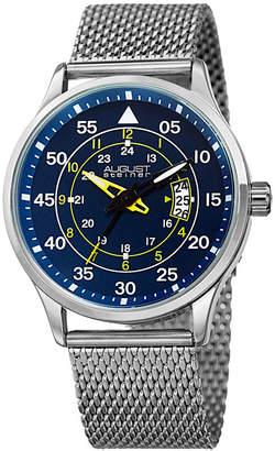 August Steiner Mens Silver Tone Strap Watch-As-8223ssbu