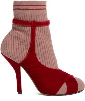Velvet-strap sock sandals