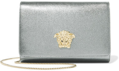 Versace - Palazzo Embellished Metallic Leather Shoulder Bag - Silver