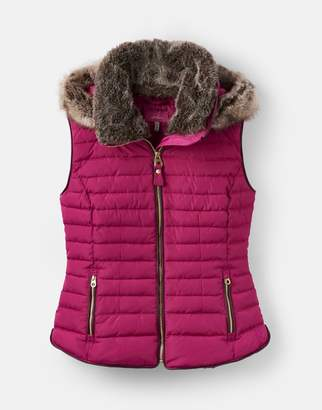 Joules Clothing 204164 Padded Gilet With Faux Fur Hood Trim