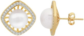 14k Gold Over Silver Freshwater Cultured Pearl & White Topaz Halo Stud Earrings