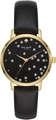 Kate Spade metro gold-tone black leather watch