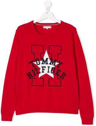 Tommy Hilfiger Junior TEEN logo embroidered sweater