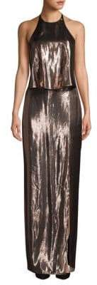 Halston Metallic Backless Halter Gown