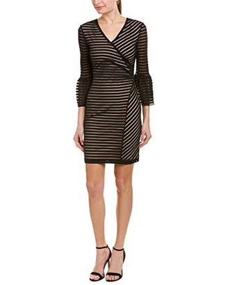 Nicole Miller Women's Sheer Stripe Bell Sleeve Dress