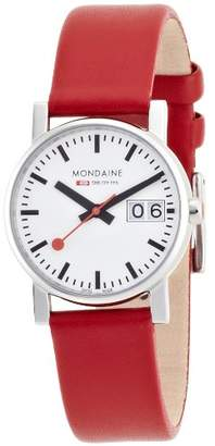 Mondaine Official Swiss Railways Watch Evo Big Women's Watch, White Dial with Date, Red Leather Strap