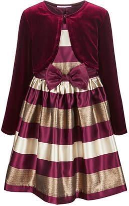 Bonnie Jean Toddler Girls 2-Pc. Jacquard Striped Dress & Velvet Shrug Set