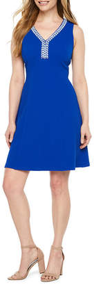 Ronni Nicole Sleeveless Beaded A-Line Dress-Petite