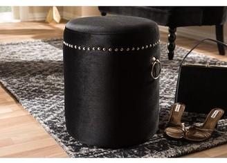 Baxton Studio Maeve Modern and Contemporary Black Velvet Upholstered Nailhead Trim Ottoman