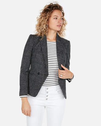 Express Speckled Tweed Fitted Double Breasted Blazer