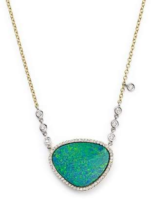 """Meira T 14K Yellow Gold and Opal Necklace with Diamond by the Yard Bezel Accents, 16"""""""