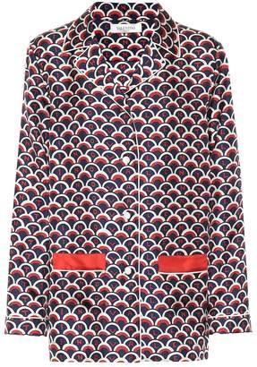 Valentino Printed silk twill pajama shirt