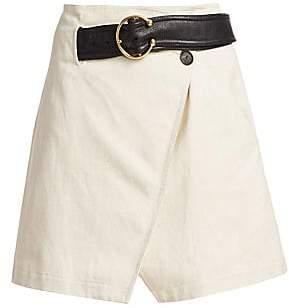 A.L.C. Women's Cami Belted Linen A-Line Wrap Skirt