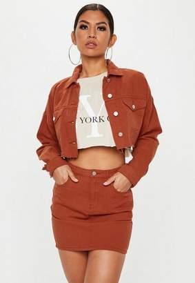 Missguided Rust A Line Denim Mini Skirt