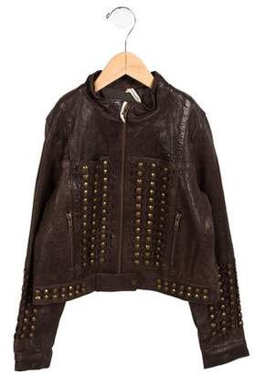 Bonnie Young Girls' Embellished Leather Jacket w/ Tags