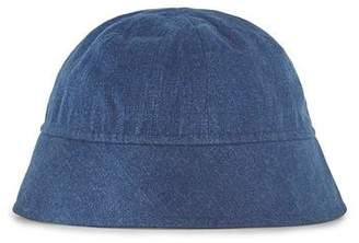Topman Mens Blue DESIGN Denim Bucket Hat