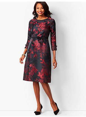 Talbots Grosgrain-Trim Jacquard A-Line Dress