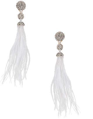 Oscar de la Renta Long Beaded Feather Earrings in White | FWRD