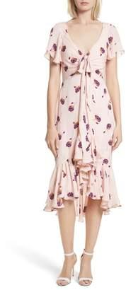 Cinq à Sept Mateo Ruffle Trim Silk Dress