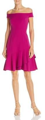 Eliza J Off-the-Shoulder Flounce-Hem Dress