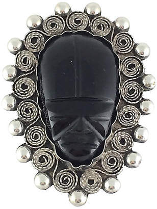 One Kings Lane Vintage Sterling & Onyx Figural Mask Brooch